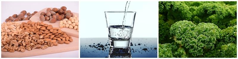 Grünkohl, Mineralwasser und Nüsse