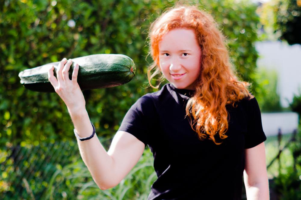 Zucchini als Hantel