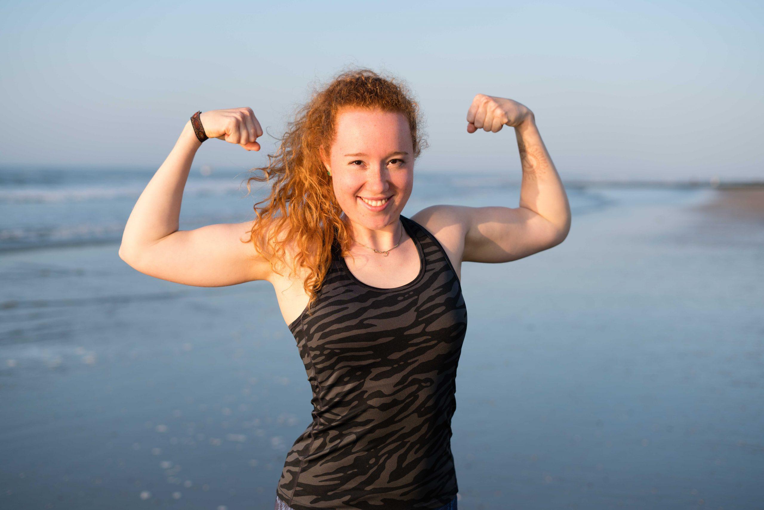 Das bin ich, Muskelpose am Strand